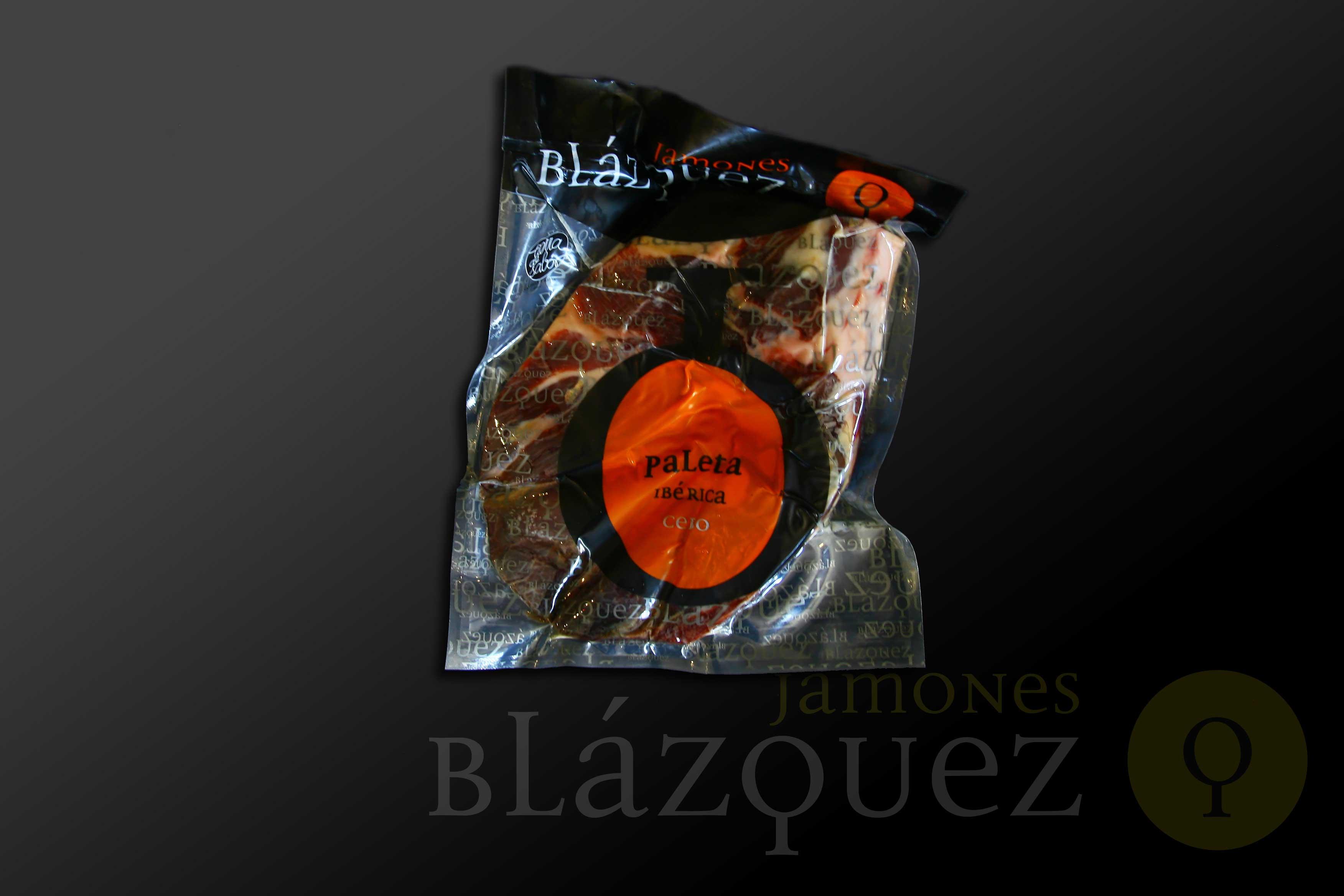 Comprar Paleta Ibérica Cebo Deshuesada Blázquez. Elaborada de manera artesanal y curada en bodega, mínimo 24 meses. Producto Gourmet. Delicatessen Artesanal de Salamanca.