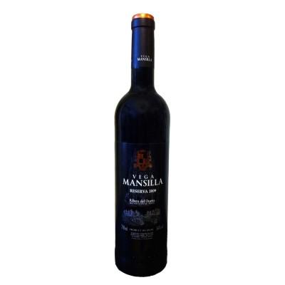 Comprar Vino Tinto Reserva Vega Mansilla, mínimo 36 meses en barrica y en botella, uva 100% tempranillo. D.O. Ribera de Duero. Producto Gourmet. Delicatessen de Burgos.