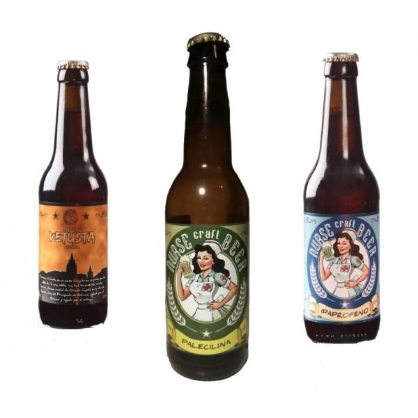 Comprar Cerveza Artesanal Nurse Ipaprofeno, Vetusta, Palelicina, pack degustación. Variedades: Indian Pale Ale, Ambar Ale y Pale Ale. Producto Gourmet. Delicatessen