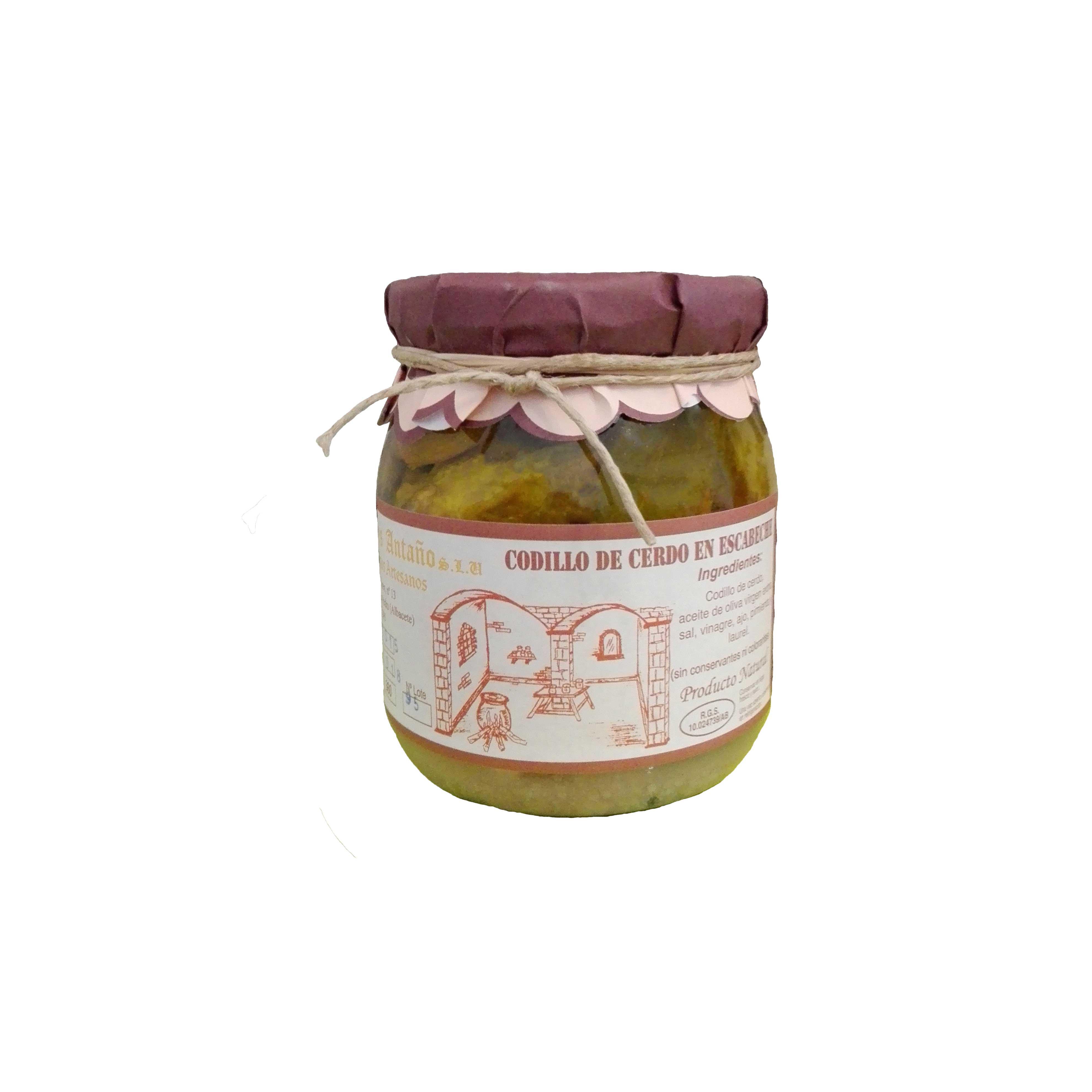 Comprar Codillo de Cerdo en escabeche de Escabeches Antaño, elaboración artesanal. Receta tradicional. Producto Gourmet de Albacete, Castilla – La Mancha