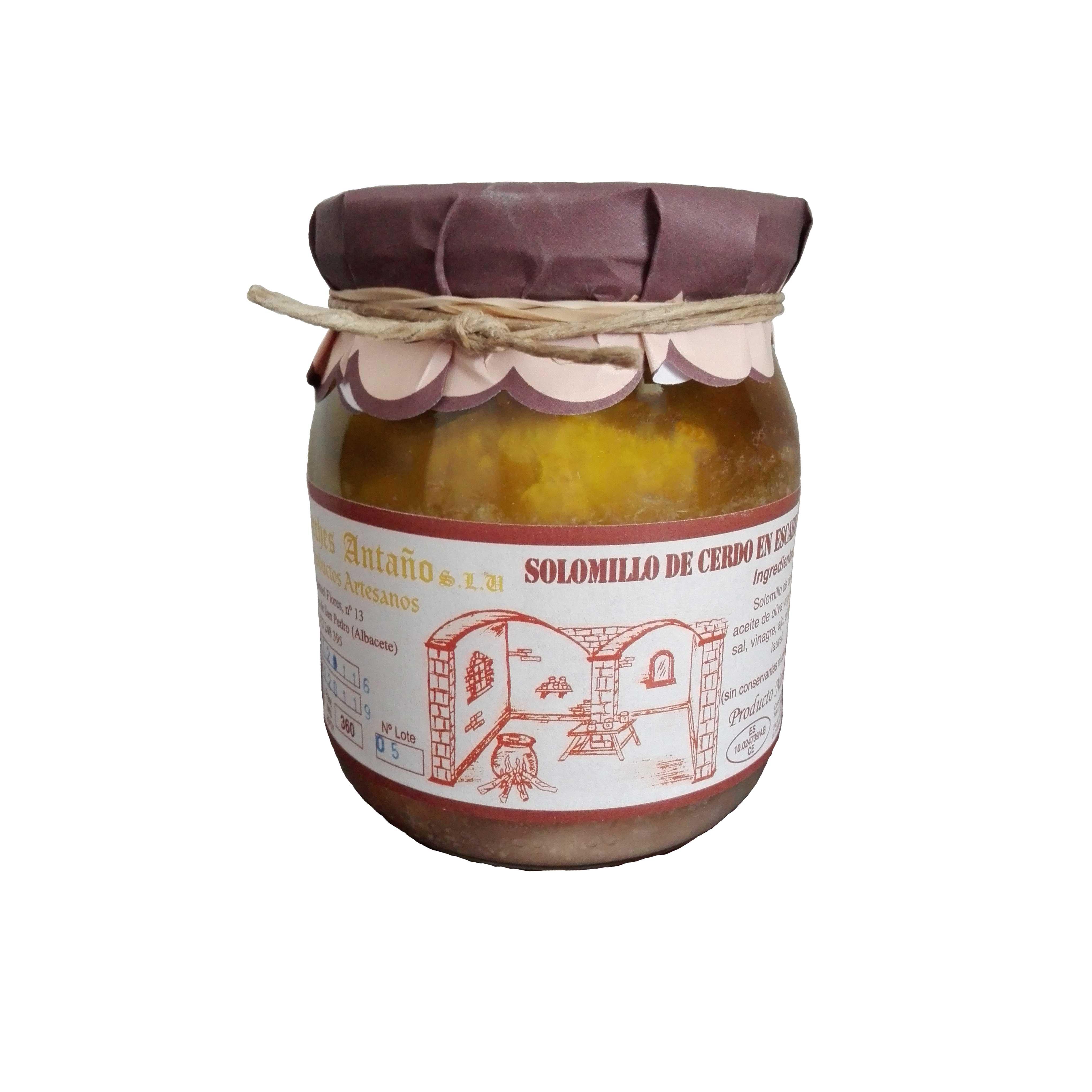 Comprar Solomillo de Cerdo en escabeche de Escabeches Antaño, elaboración artesanal. Receta tradicional. Producto Gourmet. Delicatessen de Albacete, Castilla – La Mancha