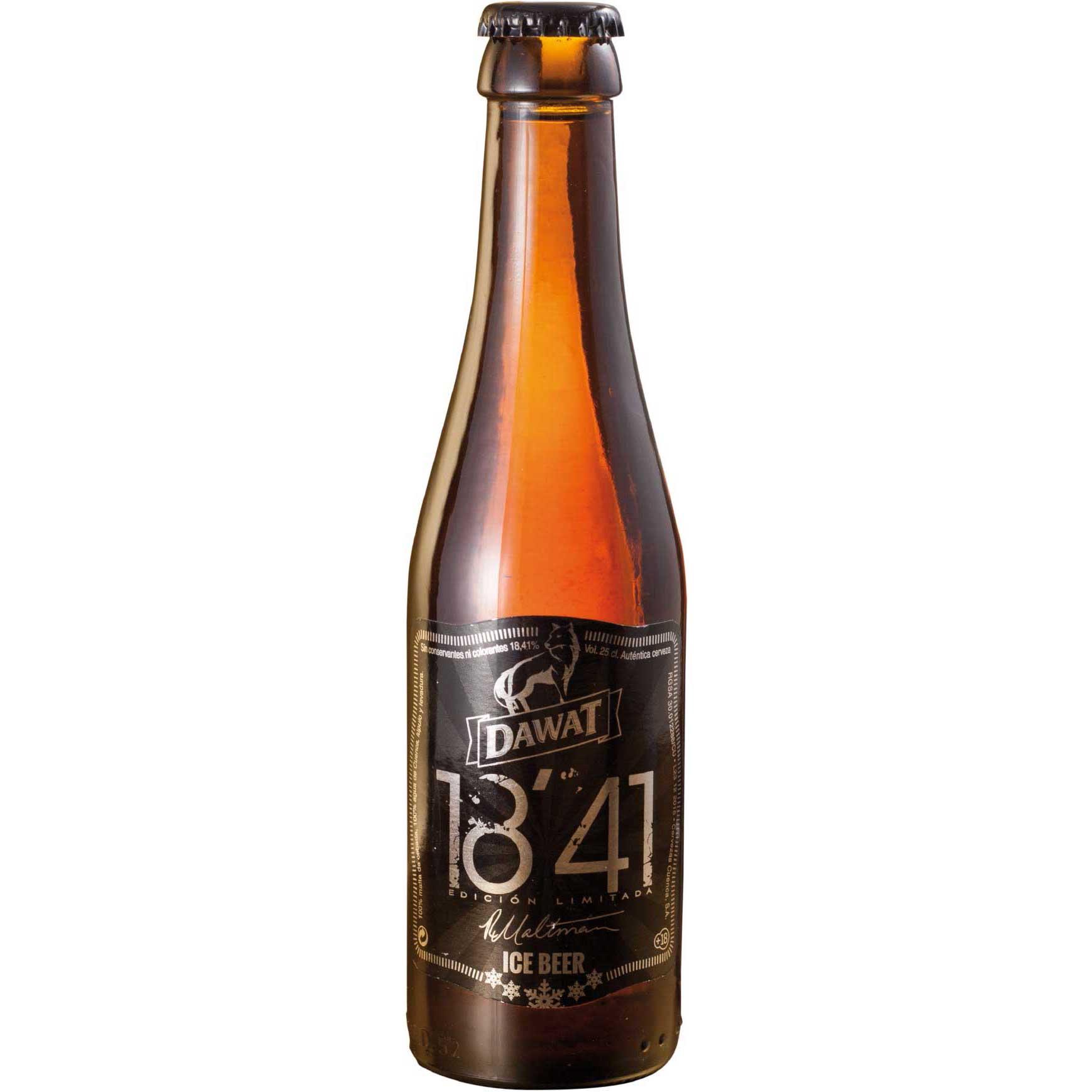 Comprar Cerveza Artesanal Dawat 18'41. Tipo Eisbock, Ice Beer, rubia, color ámbar. Muy alta graduación. Producto gourmet de Cuenca. Delicatessen Castilla-La Mancha.