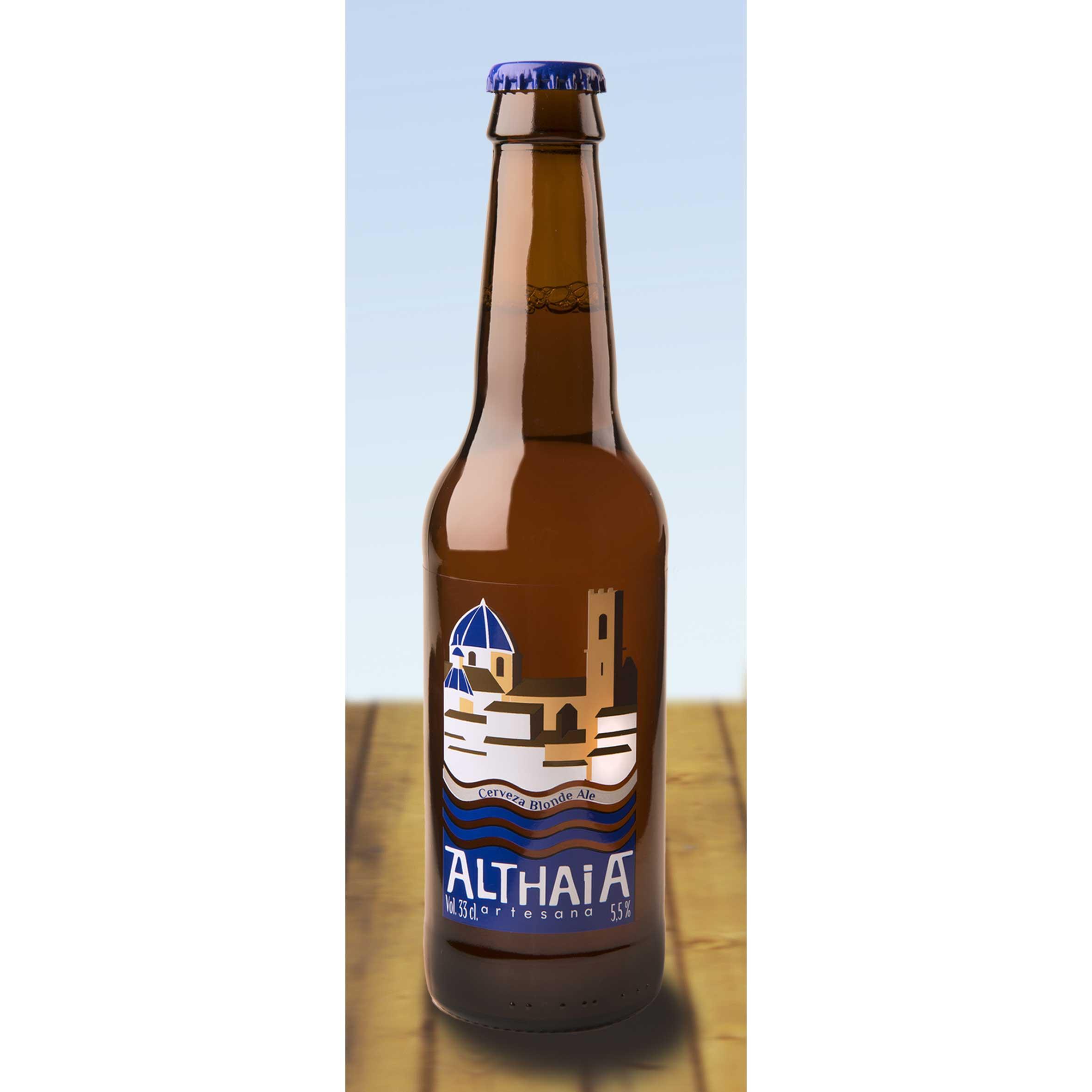 Comprar Cerveza Artesanal Althaia Blonde Ale. Cerveza rubia, con cuerpo y muy refrescante. Producto Gourmet y delicatessen de Altea, Alicante.