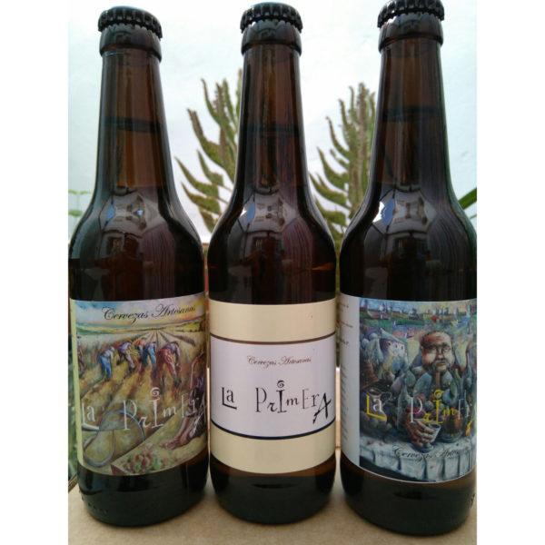 Comprar Cerveza Artesanal la Primera, pack degustación. Rubia, belga y trigo. Producto gourmet de Ciudad Real. Delicatessen de Castilla-La Mancha.