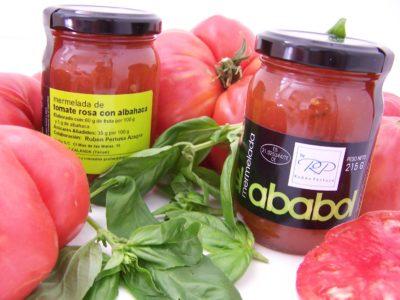 Comprar Mermelada Artesanal de Tomate Rosa con Albahaca El Ababol. Receta del chef Rubén Pertusa. Producto Gourmet de Teruel. Delicatessen de Aragón