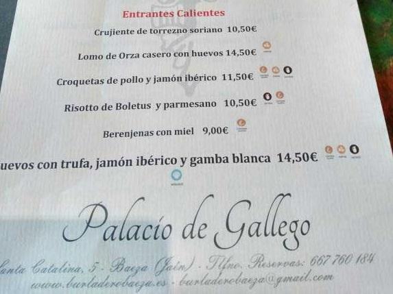 Restaurante Palacio Gallego, Baeza. Carta